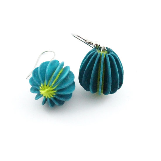Ear Lollies  Turquoise & Lime Green Thread