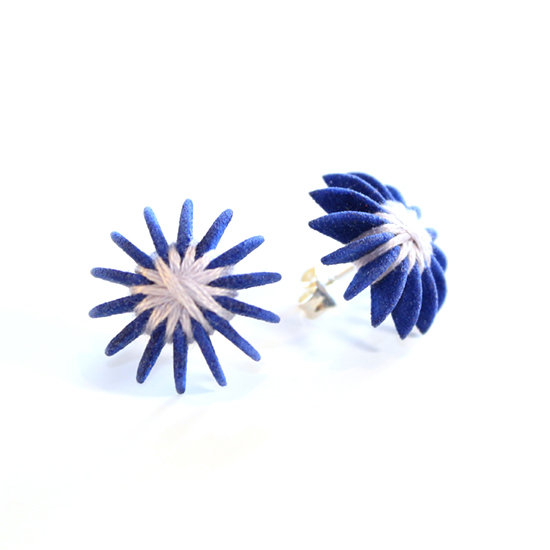 Ear Lollies Studs Navy Blue & White Thread