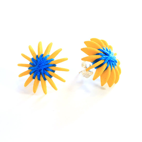 Ear Lollies Studs Yellow & BlueThread
