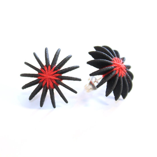 Ear Lollies Studs Black & Red Thread