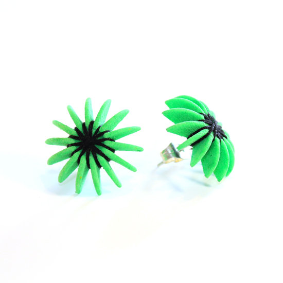 Ear Lollies Studs  Kiwi Green & Black Thread