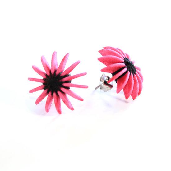 Ear Lollies Studs Pink & Black Thread
