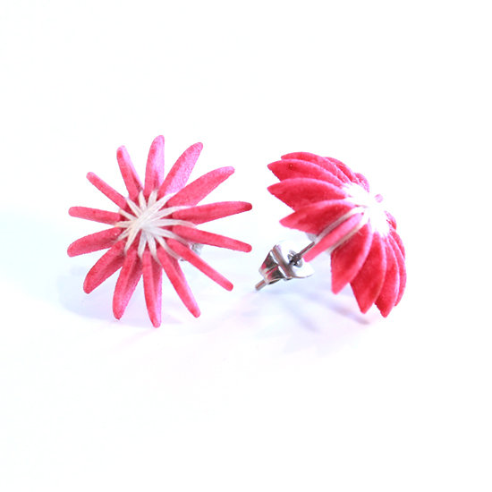Ear Lollies Studs Pink & White Thread
