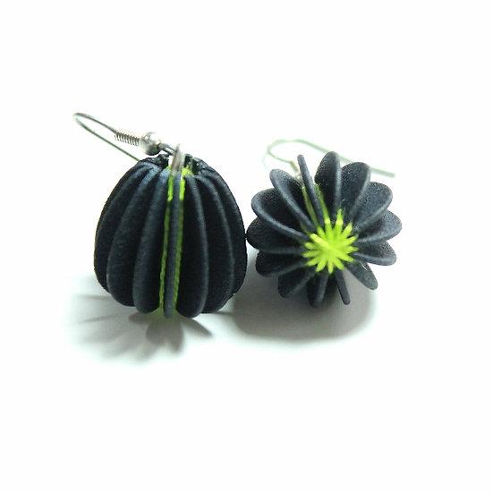 Ear Lollies Black & Lime Green Thread