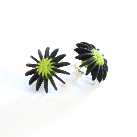 Ear Lollies Studs Black & Lime Green Thread