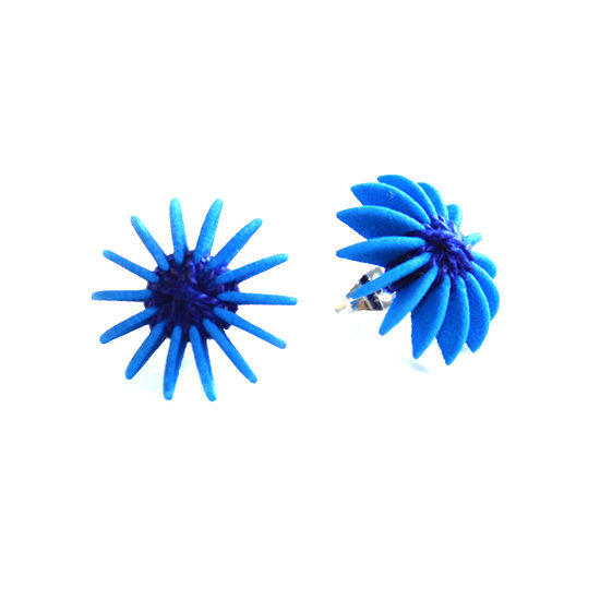 Ear Lollies Studs Blue & Navy Thread