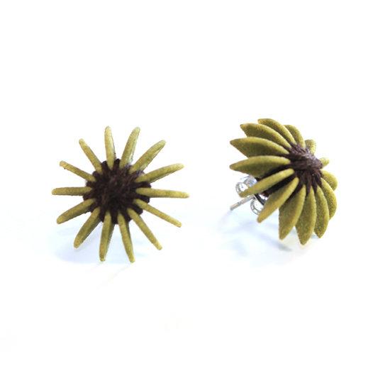 Ear Lollies Studs  Olive Green & Black Thread