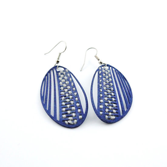 Ear Lollies Stitched Navy Blue & White Thread