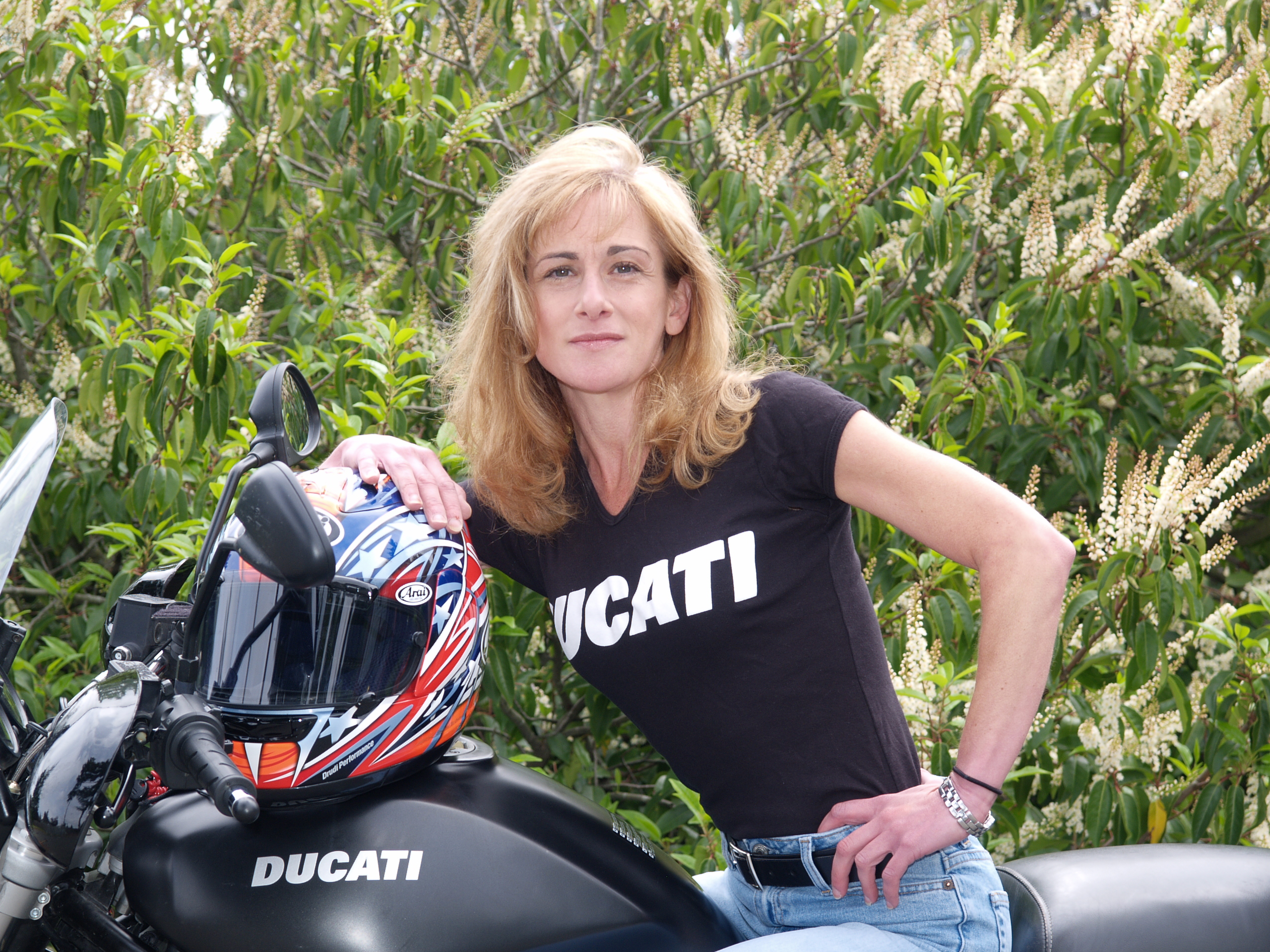 Rachel, Tigerracing, on motorcycle