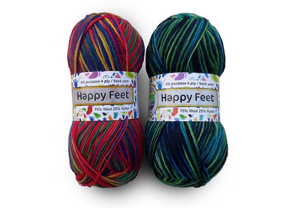 Countrywide Yarns Happy Feet 4 ply Sock Multi