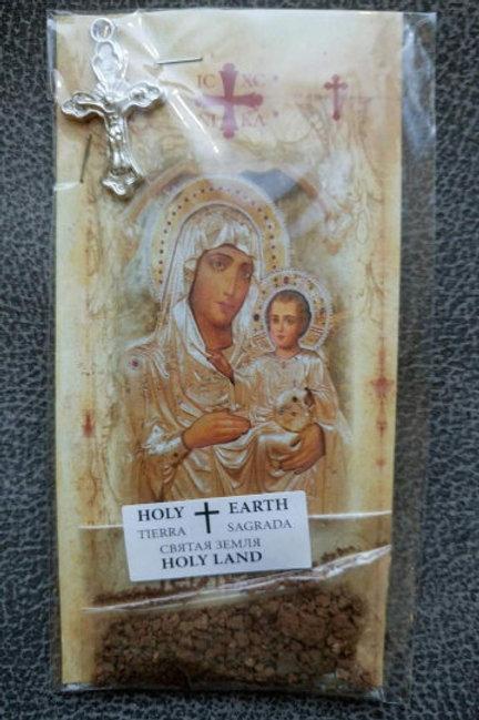 Набор: Икона Иерусалимской Божьей матери, крест, святая земля, лавровый лист