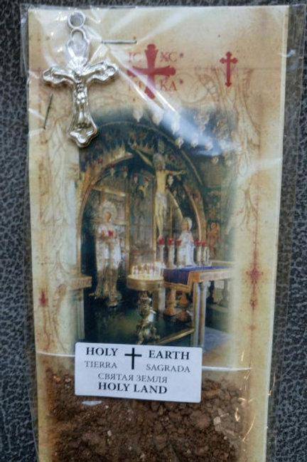 Набор: изображение с Голгофы, крест, святая земля, лавровый лист