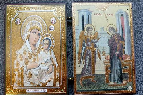 """Икона-книжка №3 """"Иерусалимская Божья Матерь и Икона Благовещения"""""""