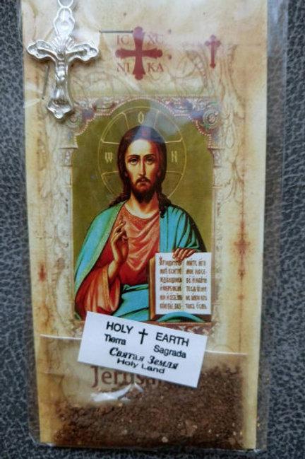 Набор: образ Христа с открытой книгой, крест, святая земля, лавровый лист