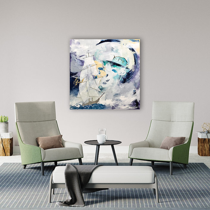 painting of ship abstract background modern interior