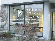 All Things Ewesful Fiber Art Studio Glass Window Lettering