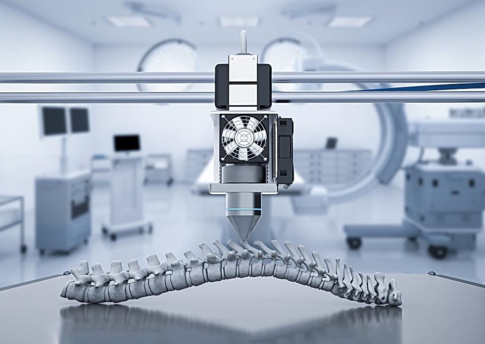 3D printer creating a replica backbone