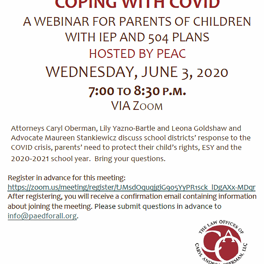 Coping with COVID: A Webinar for Parents of Children with IEPs and 504s