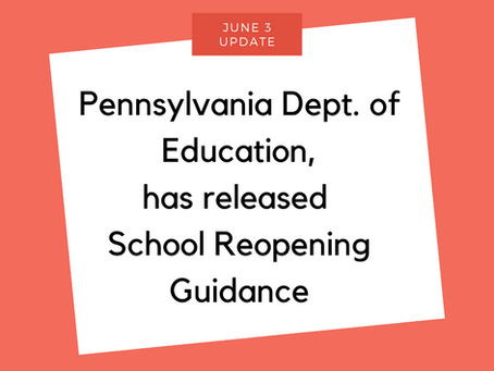 School Reopening Guidelines Released by PA Dept. of Education