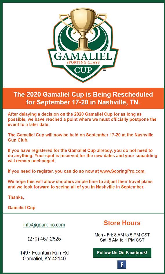 2020 Gamaliel Cup Postponed to September