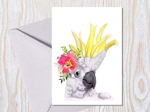 Cheeky Crested Cocky- Greeting Card