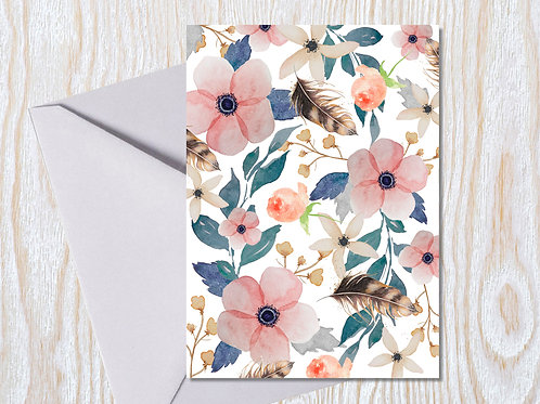 Feathers and Flowers - Greeting Card