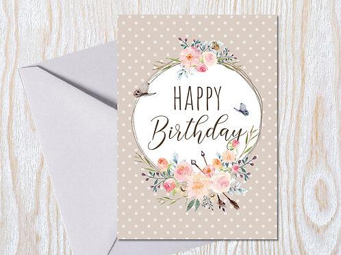Happy Birthday - Pastel Posy Greeting Card