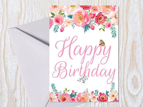 Pretty Pink Birthday Greeting Card
