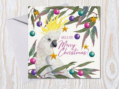 Cheeky Crested Cockatoo - Christmas Card