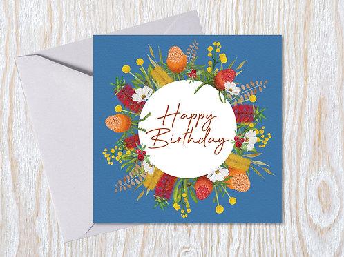 Bright Australian Wreath - Greeting Card
