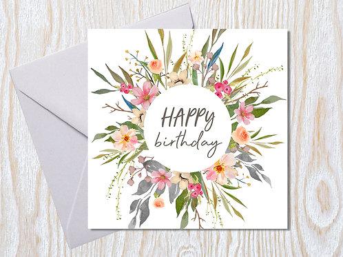 Floral Birthday Wreath Greeting Card
