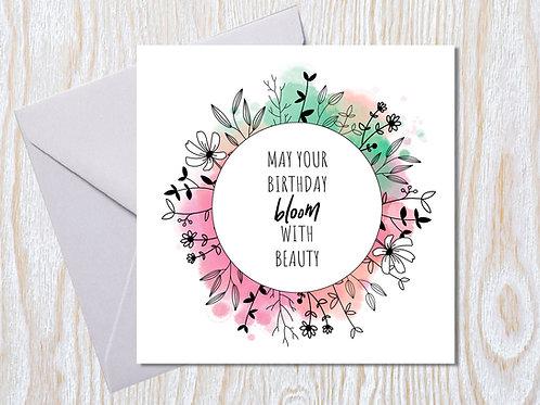 A modern floral wreath - Greeting Card