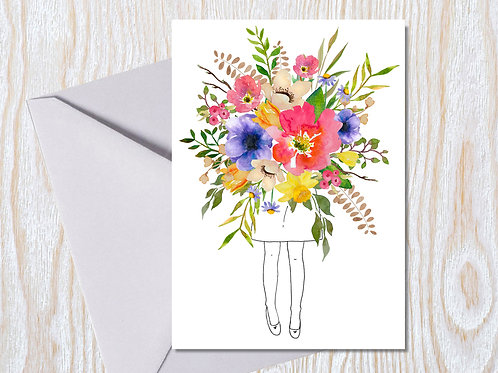 Bright Bouquet Girl - Greeting Card