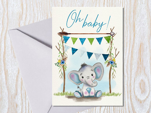 Oh Baby Boy - Greeting Card