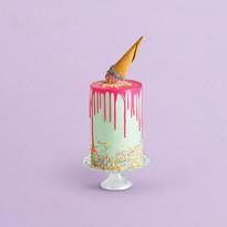 Decorated Birthday Cake with Ice Cream C