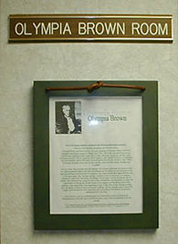 Photo of Plaque Outside Olympia Brown Room