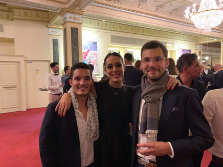 With singer/actress Sofia Essaïdi. Paris - 2018