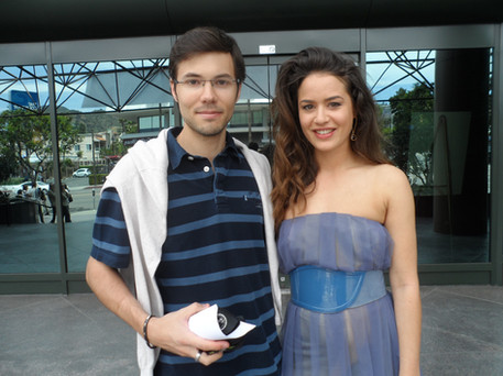 With french actress Alice David. Hollywood - 2015