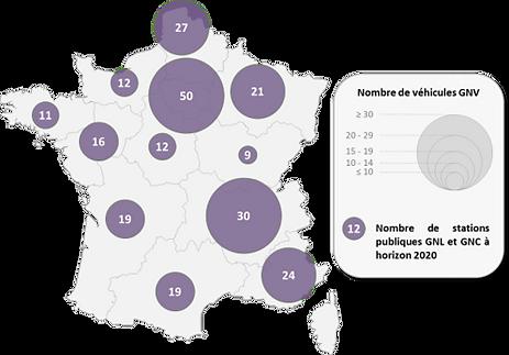 Nombre de stations GNV en France en 2020