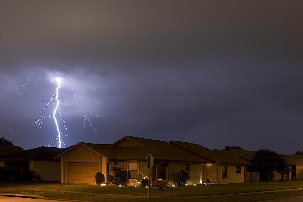 Lightning strike at night very near home