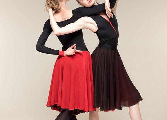 緞帶高腰雙面練習裙(黑/紅)