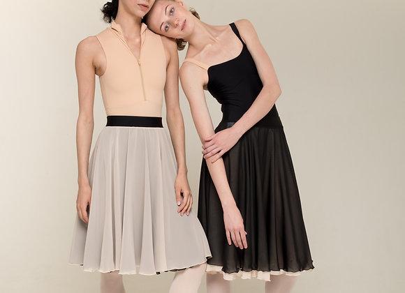 緞帶高腰雙面練習裙(黑/膚)