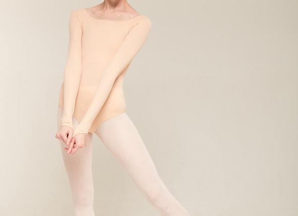 全袖柔膚素面舞衣