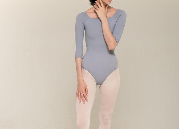 七分袖柔膚素面舞衣(灰藍)