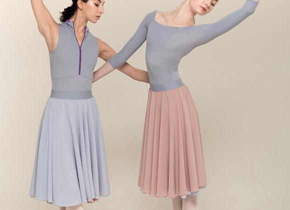 緞帶高腰雙面練習裙(灰藍/粉)