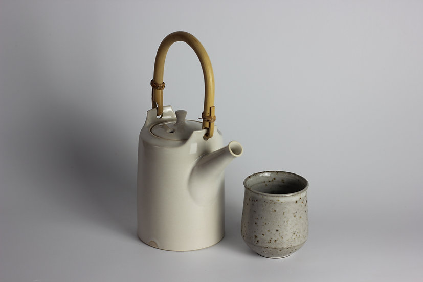 Ivory Teapot with Cane Handle