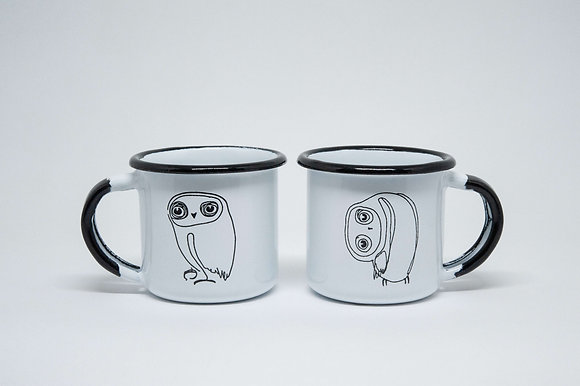 Little Owl Couple Enamel Cup