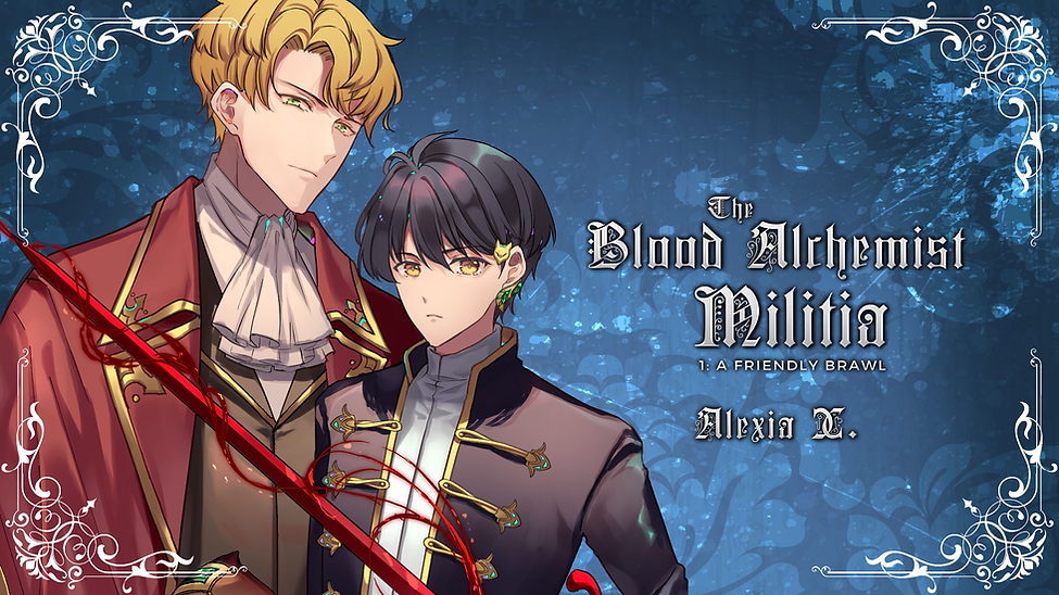 manga anime illustration of a beautiful bl yaoi couple in historical European Victorian English style clothing holding sword, beautiful uke hot seme, black hair male character, blond hair male character, novel cover banner of a steamy bl yaoi Gaslamp fantasy the blood alchemist militia author alexia x and alexia praks, bl boy's love yaoi mm fantasy novel