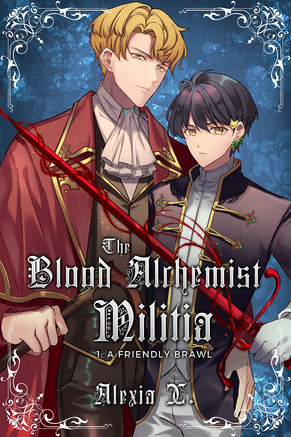 manga anime illustration of a beautiful bl yaoi couple in historical European Victorian English style clothing holding sword, beautiful uke hot seme, black hair male character, blond hair male character, novel cover of a steamy bl yaoi Gaslamp fantasy the blood alchemist militia author alexia x and alexia praks, bl boy's love yaoi mm fantasy novel
