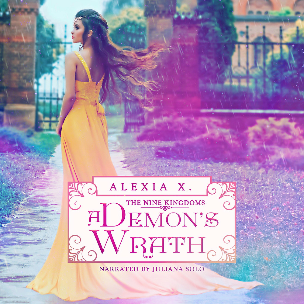 beautiful girl in yellow dress standing in the rain, paranormal fantasy romance novel, paranormal fantasy romance audiobook, author alexia x and alexia praks, a demon's wrath